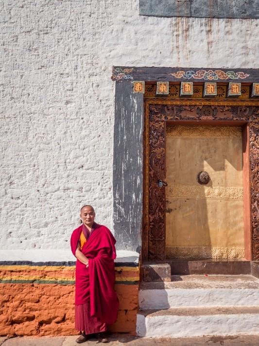 Punakha Dzong red robed monk, Bhutan
