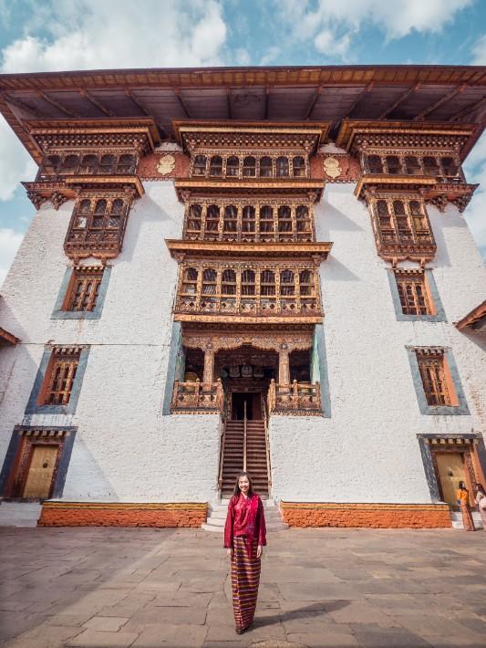Punakha Dzong temple girl traditional, Bhutan