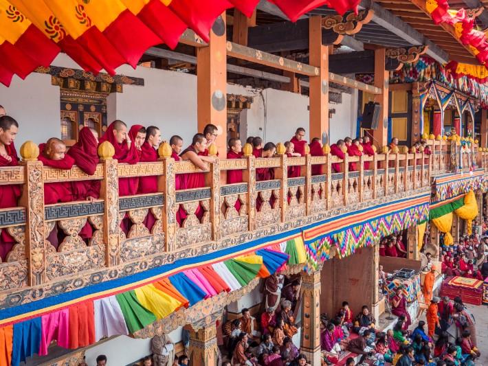 Punakha Tshechu monks watch, Bhutan