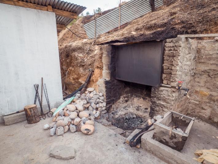 heated stones for stone bath, bhutan