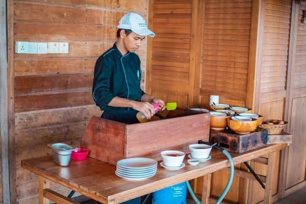 breakfast station, Telunas Private Island Batam Indonesia, Hotel Review