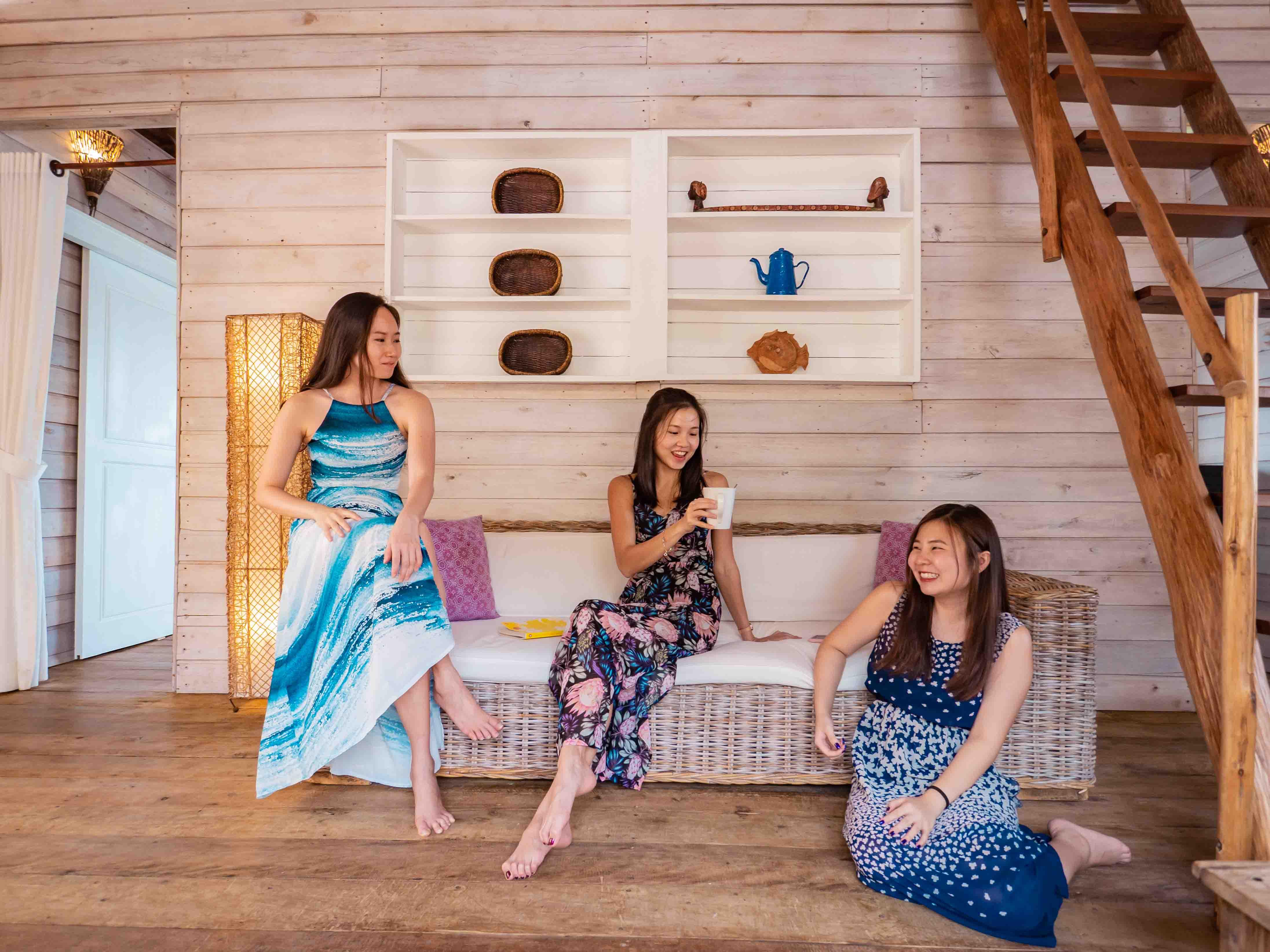 girls villa living room, Telunas Private Island Batam Indonesia, Hotel Review