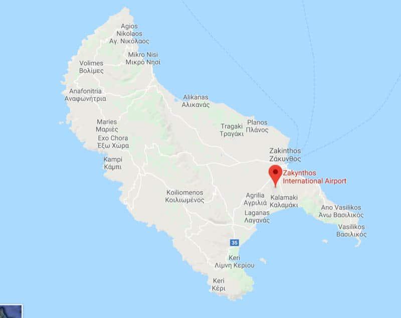 zakynthos greece map