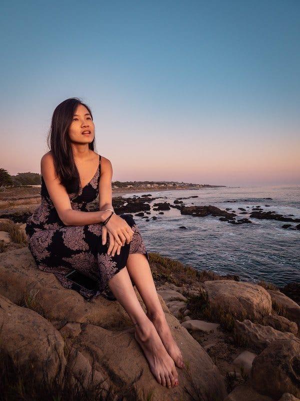 sunset-moonstone-beach-cambria-california, girl
